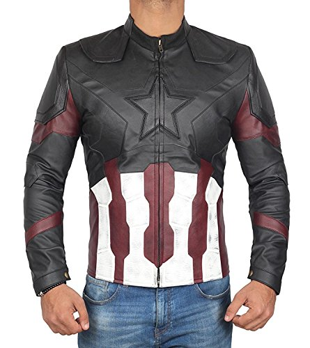 Infinity War Captain America Jacket - Captain America Avengers Infinity War Leather Jacket for Mens (Captain America Infinity War Jacket, M)