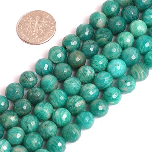 Russian Faceted Beads - Russian Amazonite Beads for Jewelry Making Natural Semi Precious Gemstone 8mm Faceted Blue Strand 15