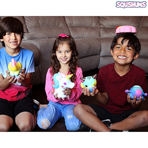 The Original Squishies By Squshums Super Slow Rising, Fruit Scented Jumbo Squishys : 1 Pc Blind Bag : Collect All 5 : Unicorn, Airplane, Heart Cat, Strawberry Cake & Elephant : FREE Carrying Case! Photo #4
