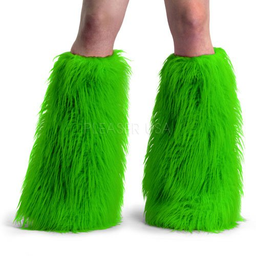 Pleaser YETI01_GRN_FUR-1 Adult Faux Fur Boot Sleeve and Leg Warmer44; Lime Green (Boot Fur Sleeve Faux)