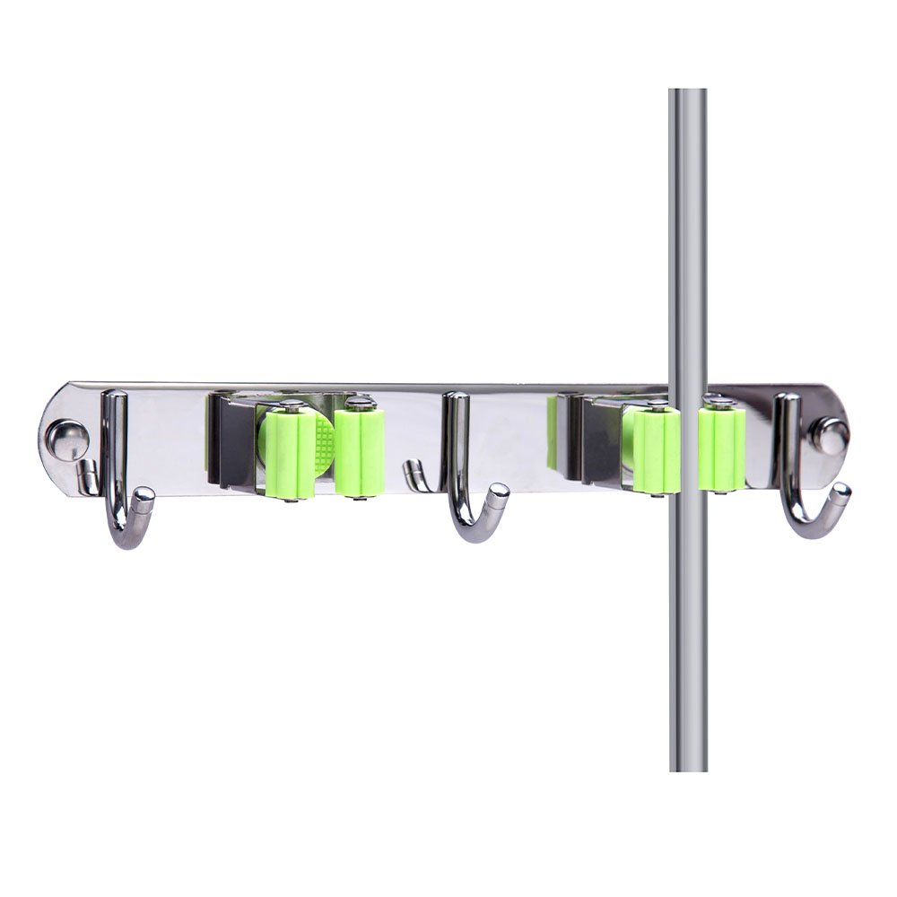 Mop and Broom Holder Wall Mount, Munto Stainless Steel Mop Holders, Garage Storage Racks for Kitchen and Garden (2 positions 3 hooks)