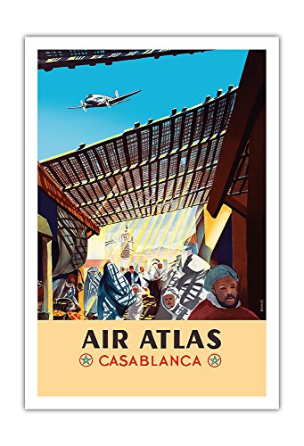 Casablanca  Morocco   Air Atlas   Vintage Airline Travel Poster By Renluc C 1950   Fine Art Print   30In X 44In