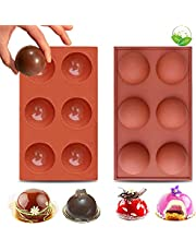 LEVEXUS 6 Holes BPA Free Chocolate Bomb Mold Cake Jelly Pudding Dome Mousse Ice Cream Soap 2 PACK Sphere Silicone Molds Non Stick Baking Pan Round Silicone Molds for Chocolate (Singapore)