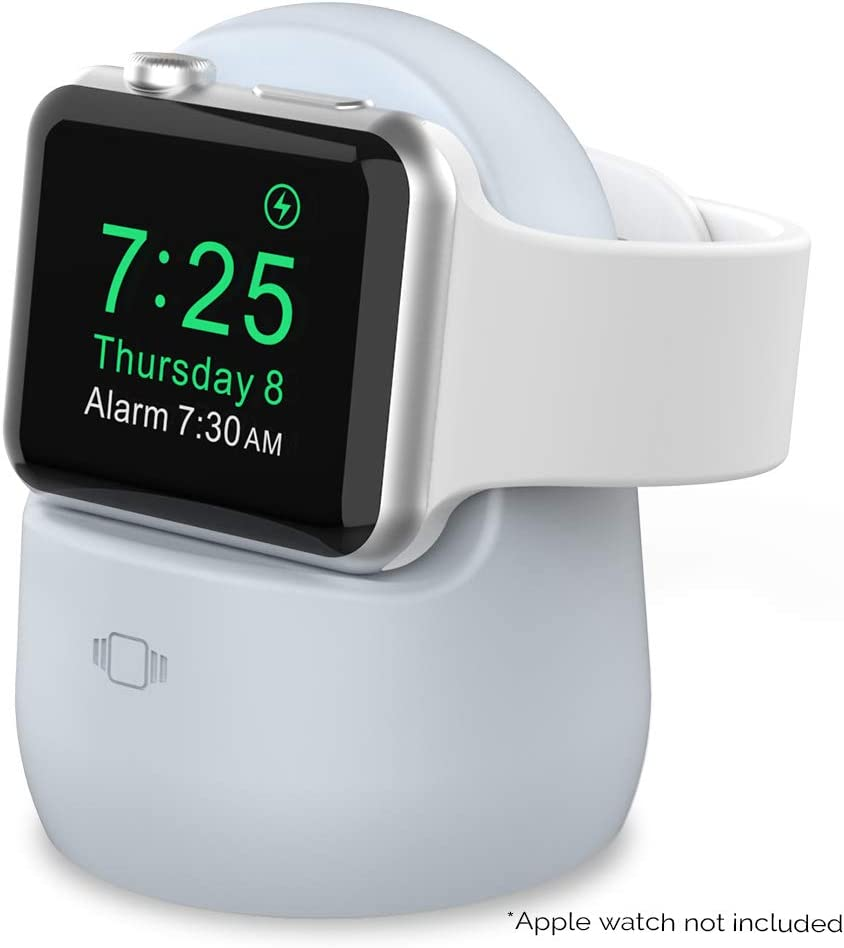AhaStyle iWatch Charger Stand Silicone Dock Holder for Apple Watch Series SE/6/5/4/3/2/1(44/42/40/38mm),Supports Nightstand Mode【Adapters NOT Included】(Light Blue)