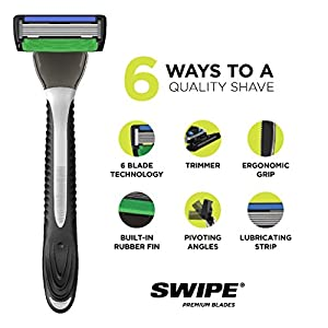 PREMIUM RAZORS (24pk + Handle) 6-Blade Shave Kit by SWIPE