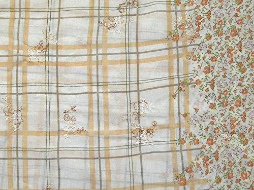 - Embroidered Border Print Cotton & Silk Dress Fabric Orange - per metre