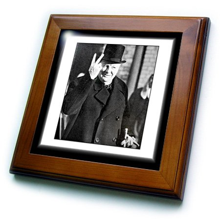 Churchill Tile (3dRose ft_98649_1 Vintage Photo of Winston Churchill Jpg Framed Tile, 8 by 8-Inch)