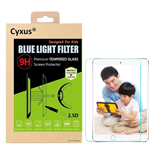 - Cyxus Filter Harmful Blue Light [Anti Eye Strain] [Sleep Better] [Protect Children's Eyes] 9H Hardness Tempered Glass Screen Protector Compatible for Apple iPad mini 1/2/3,, Non-toxic, Shock-proof, Great for Kids