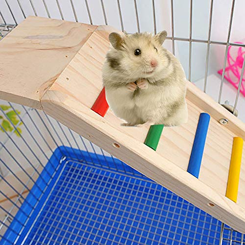 (GZU Board Squirrel Hamster Climbing Wooden Ladder Slide Play Toy Pet Cage Ornament)