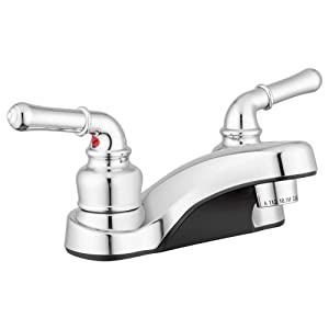 Lynden Bathroom Sink Faucet by Pacific Bay - Features a Classically Arced Spout and Traditional Two-Lever Operation – Metallic Chrome Plating Over ABS Plastic - New 2019 Model