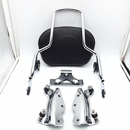 SMT Motorcycle Chrome Sissy Bar Passenger Backrest and 4 Point Docking Kit For Harley HD Touring (Motorcycle Passenger Backrest)