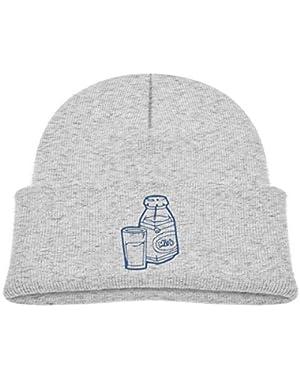 Kids Knitted Beanies Hat Milk Time Winter Hat Knitted Skull Cap for Boys Girls Gray
