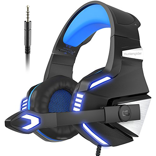 Female Cell - VersionTech Stereo Gaming Headset for PS4 Xbox One, Over Ear Headphones with Noise Isolating Mic, LED Light, Volume Control for Laptop, PC, Tablet, iMac, PSP, Mobile Phone -Blue