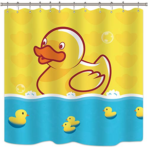 (Yellow Duck Shower Curtain Cartoon Cute Ducky Blue Water for Baby Bath Kids Decor Fabric Set Polyester Waterproof 72x72 Inch 12-Pack Plastic Hooks)
