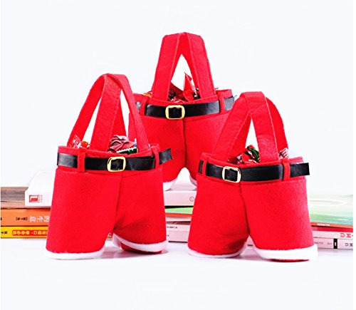 Homecube Large Size Christmas Candy Bag Wine Holders Santa Pants Gift and Treat Bags with Handle Portable Candy Gift Baskets Gift Wrap for Wedding, Pack of 3(10