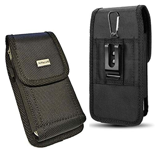 AIScell Universal Metal Belt Clip Holster For Smartphone [ Rugged Duty Nylon Pouch Case ] Fits Iphone Xs, X, 8, 7, 6s, 6 With Hybrid Armor Thick Protective Cover/Battery Case~6.20 X 3.50 X 0.60 In