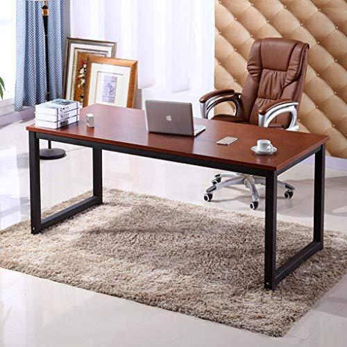 Home Office Desk 63in Writing Desks Large Study Computer Table WorkstationTeak Wooden TopBlack Metal Leg