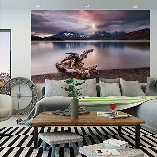 SoSung Driftwood Decor Removable Wall Mural,Driftwood on The Coast Reflection of The Mountains in The Lake Digital Image,Self-Adhesive Large Wallpaper for Home Decor 66x96 inches,Redwood