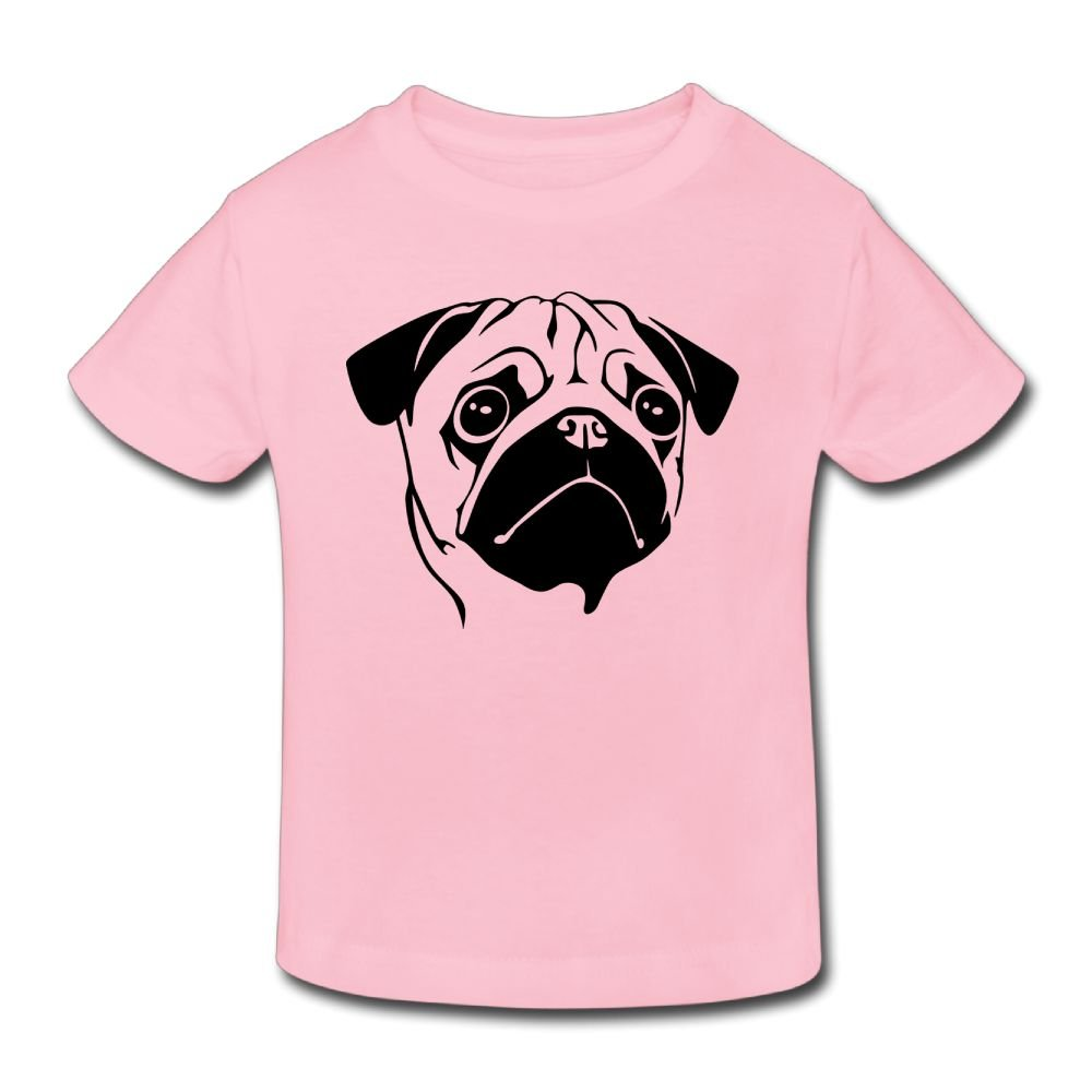 Poii Qon Pug Face Fashion Girl's Summer Crew Tshirts Short Sleeve for 2-6 Years