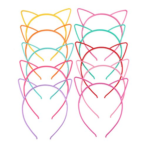 Girls Plastic Cat Ear Headbands Makeup DIY Party Hairbands Headwear 10 (Cute Diy Halloween Headbands)