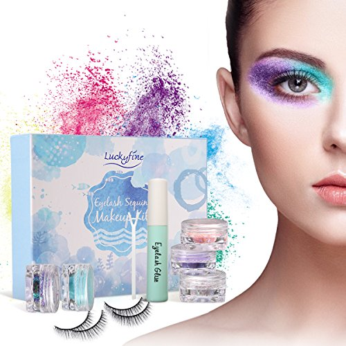 Eyelash Makeup Kit, Luckyfine - Professional Scent Irritating Eyelashes Gel,5 Colors Glitter Eyeshadow, 2 Pairs False Eyelashes, Professional Eyes Makeup Set ()
