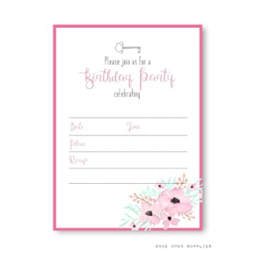 Amazon secret garden birthday party invitations with pink secret garden birthday party invitations with pink flowers and vintage keys by once upon supplies filmwisefo