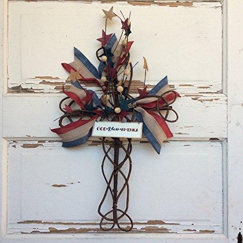 AG Designs Patriotic Decor - Grapevine Cross Wreath - God Bless America
