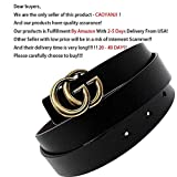 Womens Genuine Leather Fashion Belts For Jeans 1.18? Wide With Letter Buckle (black)