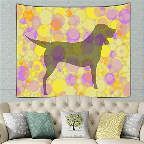 ShowerC Tapestry for Room,Transparent Dog Silhouette Circles Animals Wildlife Abstract Illustrations Clip Art,59.1x51.2 Inches ()
