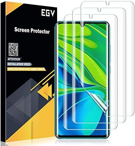 EGV 3 Pack Screen Protector for Xiaomi Mi Note 10/Note 10 Pro/Note 10 Lite,[Bubble Free][Anti-Scratch/Fingerprint] HD Clear Flexible TPU Film for Xiaomi Mi Note 10/Note 10 Pro/Note 10 Lite