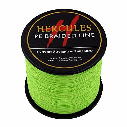 500m 547yds Fluorescent Green 6lbs-100lbs Hercules Pe Dyneema Braid Fishing Line 4 Strands (80lb/36.3kg (0.2 Mm Hi Line)