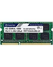 Timetec 4GB DDR3L / DDR3 1600MHz PC3L-12800 / PC3-12800 Non-ECC Unbuffered 1.35V / 1.5V CL11 2Rx8 Dual Rank 204 Pin SODIMM Laptop Notebook PC Computer Memory RAM Module Upgrade (4GB)