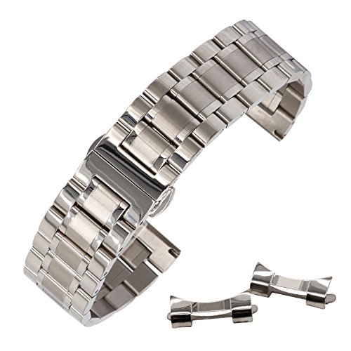22mm Universal Curved End Metal Watch Band Solid 304 Stainless Steel Adjustable Silver SS Watch Strap