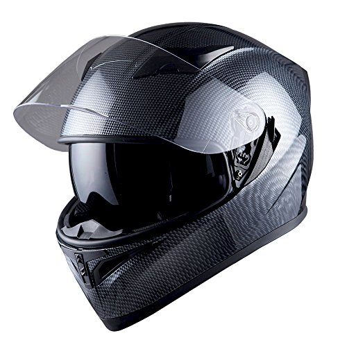 Carbon Fiber Face - 1STorm Motorcycle Street Bike Dual Visor/Sun Visor Full Face Helmet Mechanic Carbon Fiber Black, Size Large (57-58 CM,22.4/22.8 Inch)