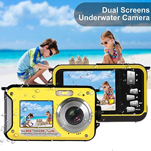undersplash Underwater Camera Waterproof Camera with 24MP Waterproof Digital Camera Camcorder Full HD 1080P Underwater Digital Self Shot Dual Screen DV Recorder