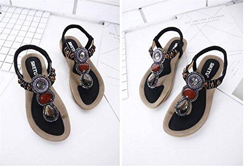 Black Womens T Rhinestones Summer Sandals Flat Strap Beach Comfortable Shoes Sandals SwqSvxr