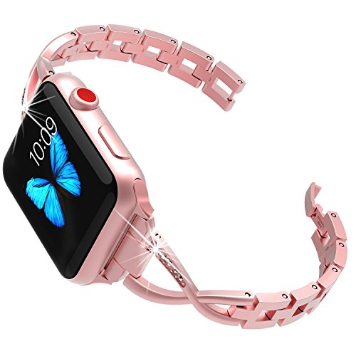 Lwsengme Compatible with Apple Watch Band 38mm,Women Steel Bracelet Compatible with iWatch Series 3 Series 2 Series 1 Rose Gold(Pink)
