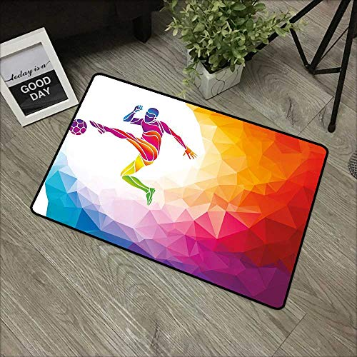 Floor mat W19 x L31 INCH Teen Room Decor,Fractal Soccer Player Hitting The Ball Polygon Abstract Artful Illustration,Multicolor with Non-Slip Backing Door Mat Carpet ()