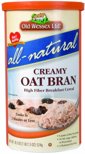 Old Wessex Ltd. All-Natural Creamy Oat Bran Breakfast Cereal, 18.5-Ounce Canisters (Pack of 12)