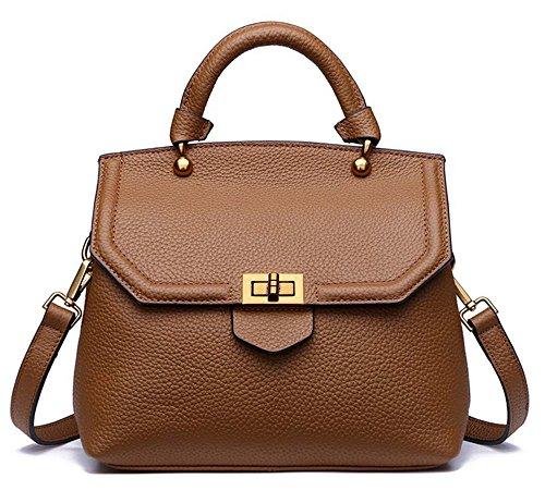 Bolsos de señora Xinmaoyuan cubierta protectora de cuero Bolsos Moda primera capa de conchas de cuero Bolso Bolso Messenger Brown