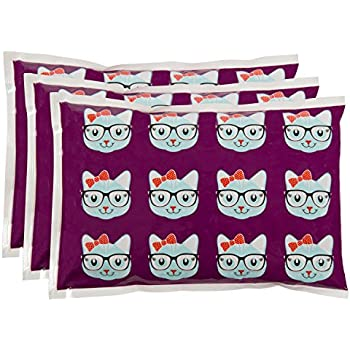"Bentology - Reuseable Ice Pack for Lunch Boxes (3 Pack) - Non Toxic - (6"" x 4.5"") - Kitty"