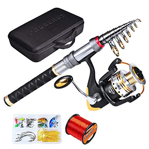 Pure Vie Telescopic Fishing Rod and Reel Combo Full Kit, Spinning Fly Fishing Gear Organizer Pole Sets with 500M Fishing Line, 13 Fishing Lures Kit, 15 Tackle Hooks, Travel Fishing Carrier Bag Case