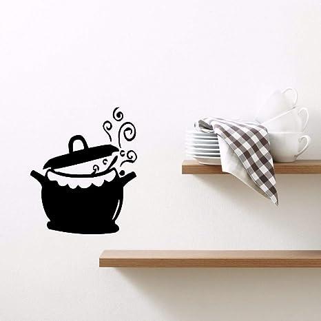 Inicio Decoracion vinilo cocina ollas y sartenes Wall Decals extraible cocina hervidor de agua 57x68cm cocina