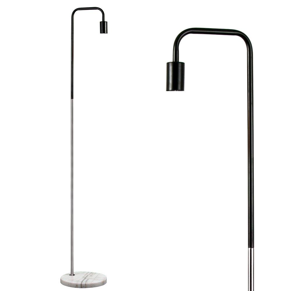 MiniSun – 'Talisman' Stehleuchte im Retrostil mit einem zweifarbigen, silberfarbigen und schwarzen Finish und einem weißen Marmorfuß – Stehlampe
