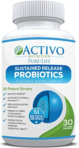 Probiotic Supplement 15x More Effective than Capsules Due to Patented Time-Release Pearls - Best Probiotics for Women, Men, Kids to Improve Digestive Health, Immunity, Energy, Mood & Focus