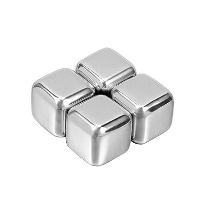 lzndeal Cubo de hielo de acero inoxidable,4 Unids/set ...