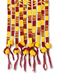 Mayan Arts Red and Gold, Pep Rally Supplies, Set of 3 Belts with Pom Poms, Team Colors Spirit Wear, Apparel, Hair Tie, Wrap Around Self Tie, Handmade in Guatemala .75 x 42 Inches