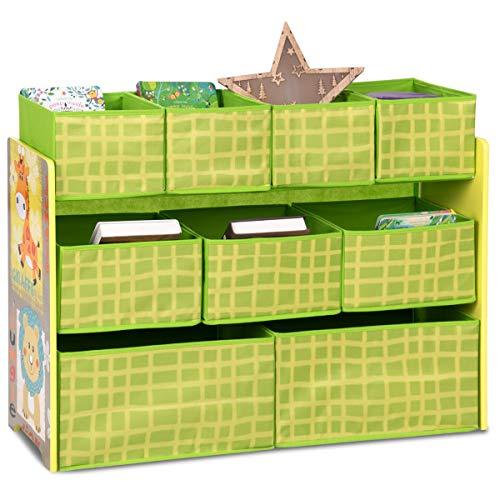 Costzon Kids Toy Organizer, Storage Shelf with 9 Removable Bins, Cute Animal Themed Wooden Children's Storage Rack, Green