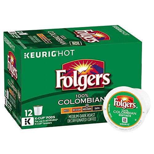 Folgers Decaf 100% Colombian Coffee, Medium Roast, K-Cup Pods for Keurig K-Cup Brewers, 12-Count (Pack of 6)