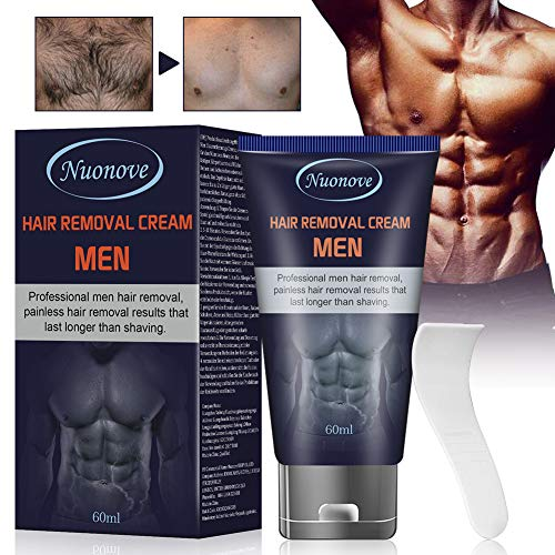 Hair Removal Cream for Men, Depilatory Cream for Men, Hair Remover for Men, Natural Painless Permanent Hair Removal Cream, Plastic Scraper, Used on Bikini, Underarm, Chest, Back, Legs and Arms, 60ml